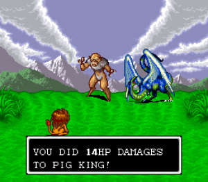 A pig king and a dragon thing are fought.